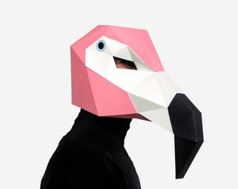 Flamingo Mask, Bird Mask, Paper Mask, Animal Mask, DIY printable Animal Head, Instant Pdf download, Printable Paper Mask, 3D, Polygon Masks