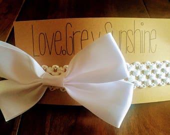 Big White Bow Headband, Crocheted White Bow Headband
