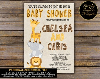 Safari Animal Baby Shower Invitation