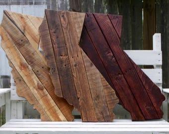 Large Wood California Sign - California Wall Decor - Reclaimed Wood California - Wooden State Wall Art - Rustic Home Decor - California Art