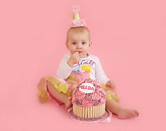 Baby Elephant with Birthday Number 1st Birthday Baby One Piece Bodysuit White Short Or Long Sleeve Machine Applique Embroidered Bodysuit