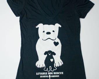 Luvable Dog Rescue Women's Black V-Neck T-Shirt
