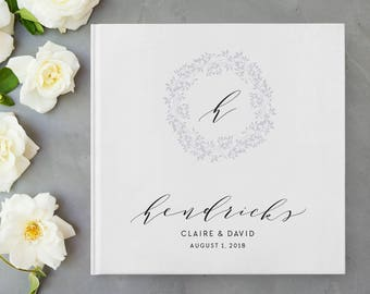 Wreath Wedding Guest Book, Initial Wedding Guest Book, Floral Wedding Guest Book, Monogram Wedding Guest Book, Guestbook, Calligraphy, 24