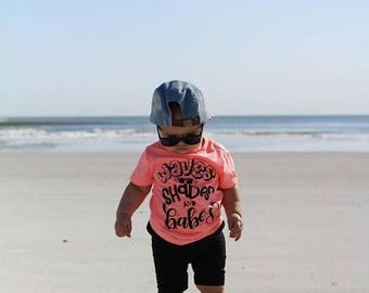 25% Off Christmas in July waves shades and babes, boys graphic tee, beach please, clothes for boys, toddler boy shirt, beach shirt, summer t