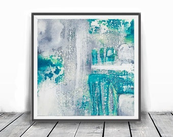 Print, contemporary art, rustic home decor, wall art abstract, digital image, gray, abstract, 12x12, Teal white and gray, turquoise