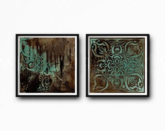 Set of 2 , Downloadable, vintage ornament painting, decorative vintage, rustic home decor, vintage style, turquoise and brown, boho art