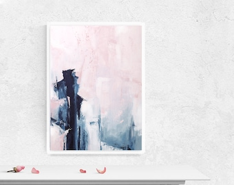 Pink and Navy Abstract Art, Large Pink and Indigo Painting, Modern Minimalist Painting, Original Wall Art, Oversized Wall Art