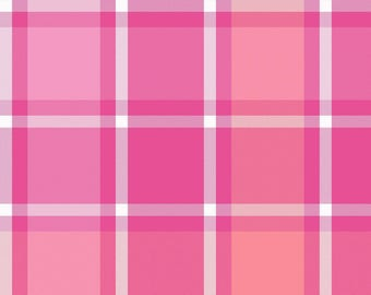 Pink Plaid Fleece, Blanket Fabric, Clothing/Apparel Fleece, Sewing Material, Home Decor/Craft Supplies, Yard/Half Yard/Fat Quarters
