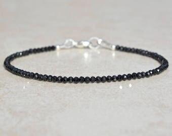 Super Skinny Bracelet, Black Spinel Bracelet, Beaded Gemstone Bracelet, Dainty Delicate Bracelet, Stacking Layering Bracelet, Gift For Her