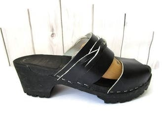 Original Swedish Clogs Womens Shoes Black Leather Sanadals Wooden Clogs  Clog Sandals Size EU 39, UK 6, USA 8.5