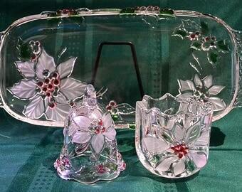 Mikasa Holiday Bloom Canape Tray, Bell and Candle Holder, Mikasa Christmas Set