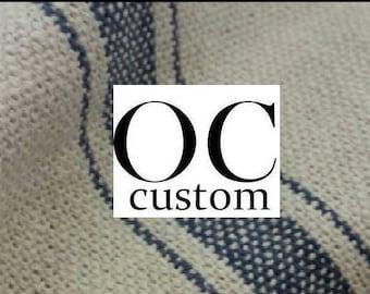 Custom Cordless - Blue Striped Feed Sack Fabric