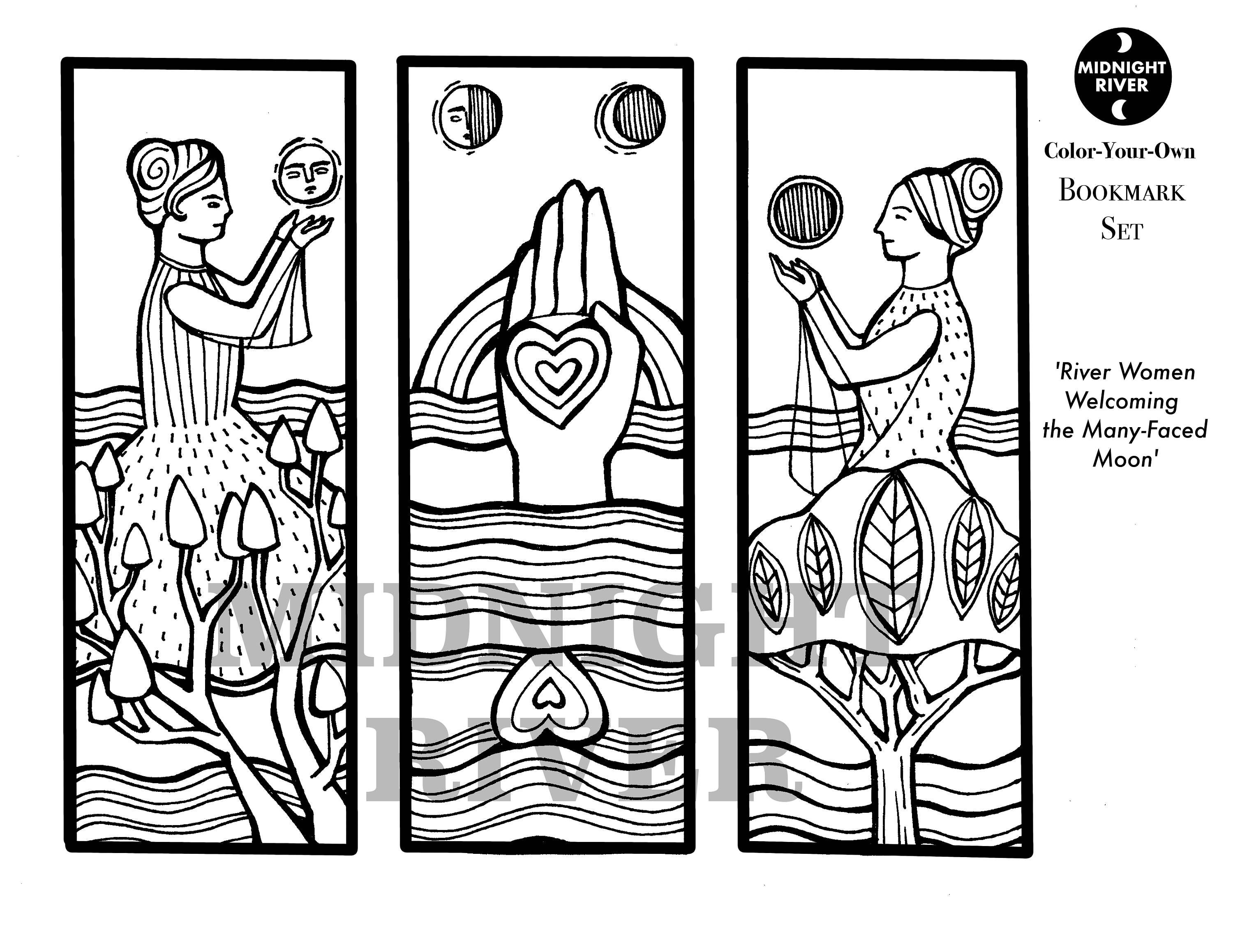 Moon Phase Bookmark Set // Printable Coloring Page // River Women Welcoming the Many-Faced Moon // Downloadable PDF
