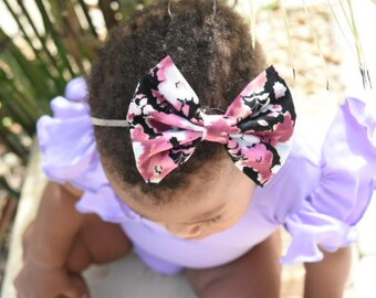 Floral bow ,black bow dusty rose ,baby bow ,bow