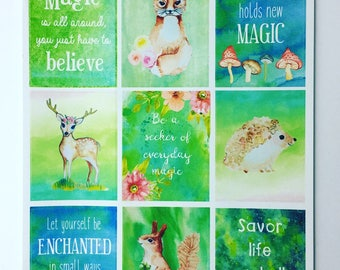 Enchanted Forest - planner/journal stickers (full boxes)