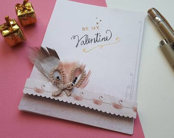Be my Valentine Handmade Card - pink feather ribbon beautiful love card
