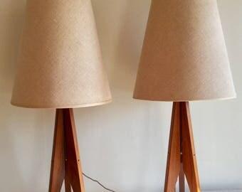 Large Pair of Mid Century Teak Rocket Lamps