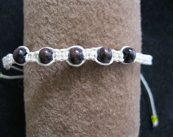 Brown Wood Bead Hemp Bracelet