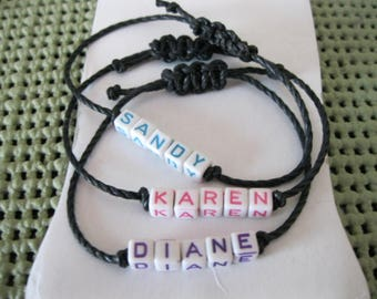 Colorful Ceramic Letter Cube, Personalized Name Bracelet