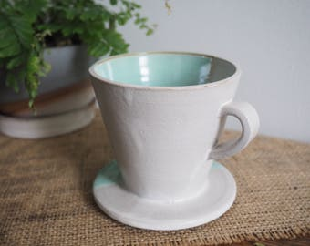 Handmade Drip Coffee Cone, Hand Thrown Ceramic Coffee Pour Over Maker, White and Celadon on brown clay