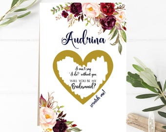 Floral Bridesmaid Proposal Card, Will You Be My Bridesmaid, Scratch Off, Maid of Honor Card, I Can't Say I Do, Sister Card, Burgundy,Marsala