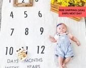 Baby Milestone Blanket ™ Days, Weeks, Months, and Years! / swaddle / anniversary blanket /age blanket / growth blanket / baby photo