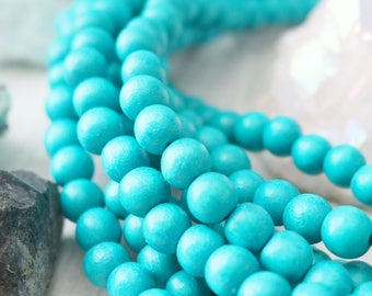 10mm beads, wood beads, turquoise blue beads, round beads, natural wood, colored wood, full strand, chunky beads, large beads,