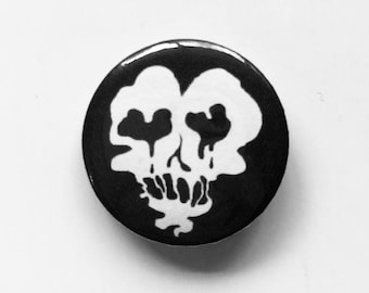 "1"" pinback badge - Heat skull ghost -"