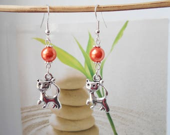orange mother of Pearl bead cat charm earrings