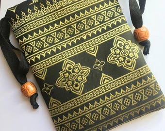 Handmade Black and Gold Thai Silk Tarot Pouch Bag Dice Pouch Jewelry Bag