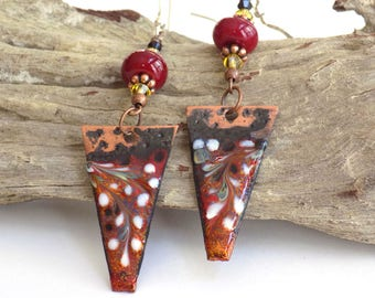 Dangle Earrings for Women Boho Earrings Gift for Women Statement Jewelry Long Earrings Gift for Her Bohemian Jewelry Red Earrings for a Gift