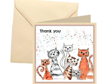 Cat thank you card, blank card, greetings card, thank you card, cat greetings card