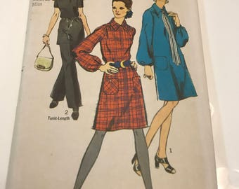 Simplicity 9027 Retro Dress or Tunic and Pants Sewing Pattern Size 16 Bust 38