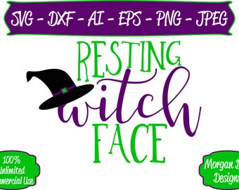 Resting Witch Face SVG - Halloween SVG - Files for Silhouette Studio/Cricut Design Space