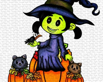Image #117 - Cute Witch - Digital Stamp by Naz - Sasayaki Glitter. Line art only- Black and White