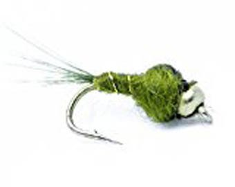 Bead Head Olive Nymph Fly Fishing Trout Flies - One Dozen Wet Flies - SIZE 16 Great for Trout and Sold by Feeder Creek
