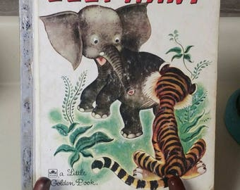 """Little Golden Book """"The Saggy Baggy Elephant"""" by K. & B. Jackson/Illustrated by Tenggren/Vintage 1974 Collectible Children's Book/Nursery"""