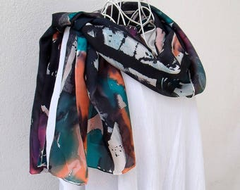 """Stole made of silk (9) hand painted """"when the Jazz is here!"""""""
