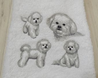 Bichon Frise Dog Embroidered Hand Towel 100% Cotton Lovely Gift Present