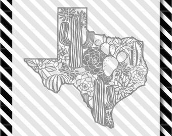 Texas cactus svg cut file - Succulent Texas Cutfile - Texas Silhouette dxf - Texas vector art - Texas cactus svg - Texas svg - svg cut file