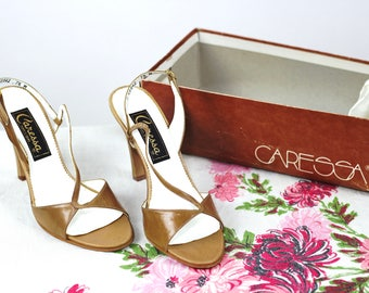 Vintage 1970s Caressa Butterscotch Queen Sandals / 7.5