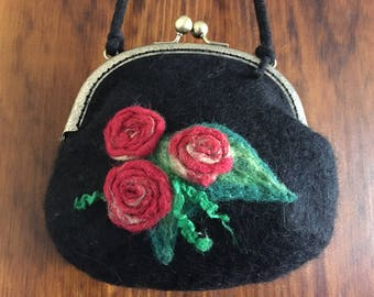 Black Felt Purse Bag With Metal Frame Clasp Decorated With Wet-Felted Red Roses and Leaves