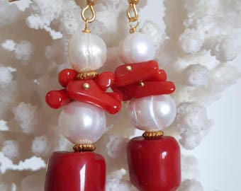 Pendant earrings White Baroque pearls, coral red and silver