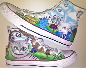 ORIGINAL Converse Shoes with hand painted design Alice in Wonderland!