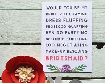 Will You Be My Bridesmaid? Postcard - Bride-Zilla Taming. Funny Bridesmaid Card - Bridesmaid Proposal Card - Quirky.