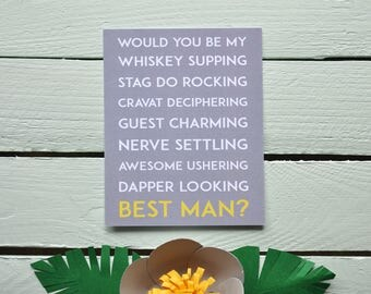 Will You Be My Best Man? Postcard - Whiskey Supping. Funny Best Man Card - Groomsman Proposal Card - Quirky.