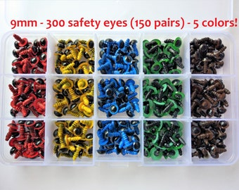 150 pairs of safety eyes, 5 different colours, 9 mm-150 pairs of 9 mm safety eyes Box, 5 different colors-Amigurumi-Eyes for toys