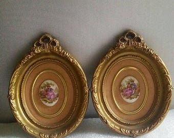 On Sale Pair Gold Framed Fragonard Limoges Cameos on a Velvet background, Cottage Decor, Shabby Chic, Victorian Cameo's, Signed Cameo's
