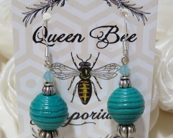 Teal green beaded earrings with silver accents - sterling silver hooks