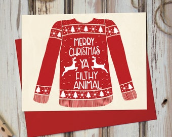 Merry Christmas Ya Filthy Animal - Card Boxed Set- Funny, Humorous Cards